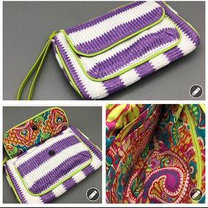 Vera Bradley purple white striped wristlet